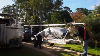 First things first - unloading the old mast then the new!