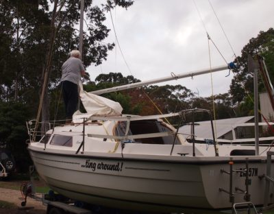 Checking the old sail and new mast get along. Sweet!