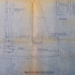 National E dinghy sail plan and spar details - 1955